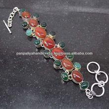 Executive Carnelian, Green Onyx Plated 925 Sterling Bracelet Silver Jewelry