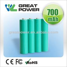 Hongkong export 1.2V 700mAh li-ion rechargeable AAA battery cell