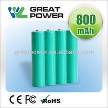 1.2V 800mAh NIMH AAA/AA rechargeable battery cell