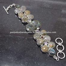 Captivating Labradorite Checker, Amethyst, Garnet Plated 925 Sterling Bracelet Silver Jewelry