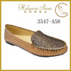 Bronze Glitter vamp Wholesale china fashion moccasin women shoes guangzhou factory
