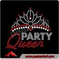 hermosa reina de la fiesta de la corona de encargo rhinestone motivo de hierro sobre la transferencia