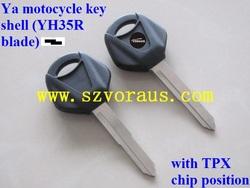 Ya motocycle key shell (YH35R blade)&Ya transponder chip key blank, with TPX chip position
