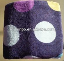 Purple Polka Dots Large Super Soft Warm Coral Fleece Throw or Twin Blanket 60*80