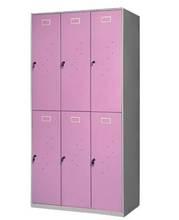 used double tiers six door girls steel armoire / pink 2-tier 6 door metal hanging clothes cabinet for girls bedroom