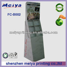 Hot sale recycled Silk Screen Printing corrugated Cardboard floor Display Stands/rack For Supermarket CD