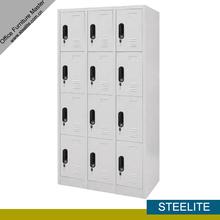 4-layer twelve doors steel medical cabinet with powder coating / 4 tier 12 compartments white metallic bathroom locker