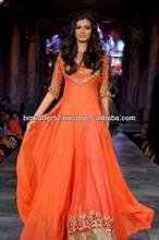 New orange color churidar pajama golden hand embroidery work on it for irish beauty