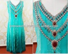 Chiffon Skyblue color sleevless long shirts with hand work on neck evening dress