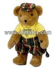 promotional custom stuffed & plush brown golf bear with shirt, plaid pants, hat and golf club t-shirt Bandana Logo imprint embro