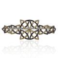 Real diamante negro nudo celta de palma en forma de pulsera de la joyería, genuino zafiro amarillo piedras preciosas de la boda hecho a mano pulsera de la joyería