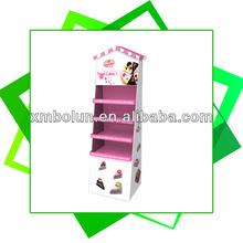 Custom 4 tiers floor standing house shaped promotional cake cardboard display