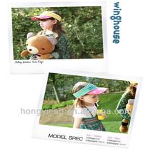 Wholesale Custom 100% Cotton Fashion Lovely Cute Children Sun Visor Cap/Kids Sun Visor Hat