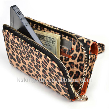 leopard wallet pu phone cover for iphone mobile