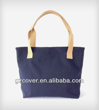 Hot sale standard size canvas tote bag with leather handle