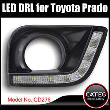 LED daytime running lights lamps with fog light frame for Toyota Land Cruiser Prado GX GXL VX TZ TX TXL 2 L4 V6 2012 2013 2014