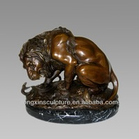 Lion Bronze Sculpture - Wholesale Bronze Lion Fighting Snake Sculpture with Marble Base