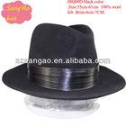 Wholesale fashion black wool winter hat dress wool felt casual hat for men/ladies100%wool with brim6cm-7cm size55cm-61cm