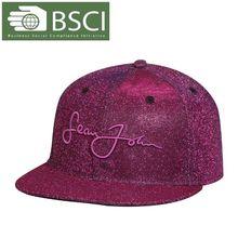 BSCI Audit elegant purple shiny flat brim hi-hop caps for girls