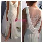 Vintage Wedding Dress 2014 Front Slit Wedding Dress White Chiffon Wedding Gown With Illusion Back