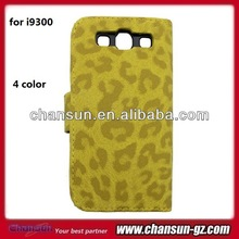 leopard leather case for samsung i9300 wallet case for galaxy s3 with card holder