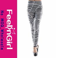 Wholesale Black&White Plaid Printed Leggings Women Tubes Sexy Legging