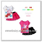 Child Clothes Girls Clothing Sets Summer Short Sleeve Peppa T Shirts & Skirts 5sets/lot LT30193