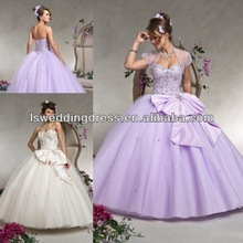 HQ2053 Light purple bling beaded top layers sparkly tulle ball gown lace up back full length removable bow quinceanera dress