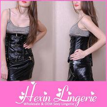 2013 Black Faux Leather waist training corsets wholesale