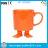customized orange ceramic foot shaped mug