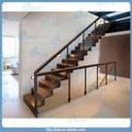 frameless vidro temperado corrimão de ferro forjado escada reta
