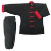 Traditional Forg Button Kung Fu Uniform 8oz 100% Cotton Black & Red Elastic