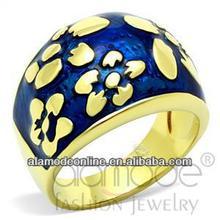 Hot sell brass flower design gold epoxy ring