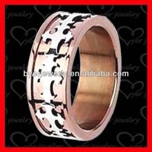 Rose gold cross stainless steel ring mens wedding rings