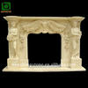 Yellow Marble Fireplace Mantel with Woman statue