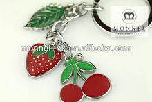 Z380 Wholesale Alloy Cherry Strawberry Fruit Leaf Charms Keyring Keychain