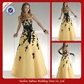 Wa00397 cintas elegante del amor del a-line amarillo vestido de boda con azul sash designs
