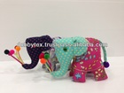 Thailand handmade Hmong elephant dolls with pons pons and cut fabrics