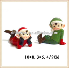 Wholesale ceramic red and green christmas elf figurine