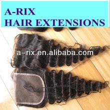 Factory large stock virgin brazilian hair lace closure deep wave 3.5X4,4X4inch,5X5inch top closure