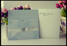 elegant wedding card & Hot sale invitation card & sky blue rolling glass wedding invitation place card