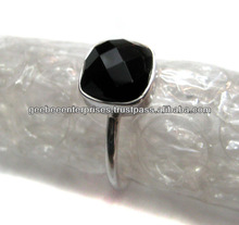 925 Sterling silver black onyx stackable rings