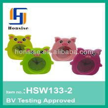 Colorful OEM silicone colorful cute pig shape alarm clock