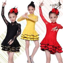 Kd1309 d'automne et d'hiver des enfants filles robe en dentelle spectacle de danse latine usure formelle porter justaucorps de salon vente chaude