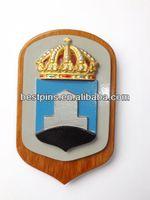 Sweden Navy metal plates on wood plaque