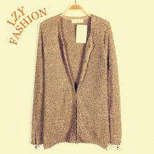 Women's fancy yarn with zippers cuffs cardigan sweater