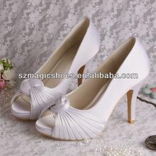 (12 Colors) White Stripe Satin Platform Wedding Shoes