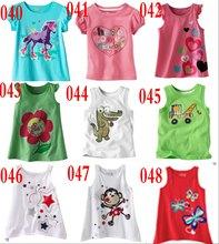 Fashion new 100% cotton short sleeve t shirts girls cartoon tops
