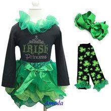 Girls St Patricks Day Green Tutu IRISH Princess Black Tee Shirt Warmer Bow 4pcs 1-7Y