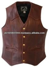 vintage red Fashion Leather Vest for Men's